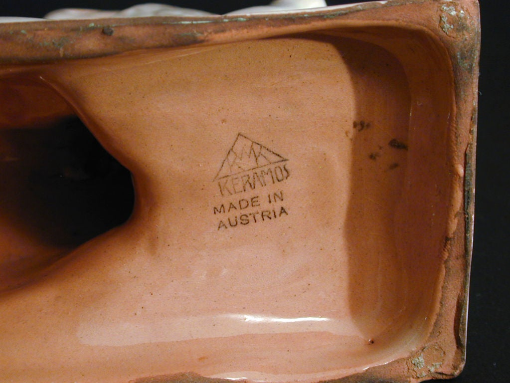 Mid-20th Century Rare Art Deco Terra Cotta Sculpture by Keramos in Austria For Sale
