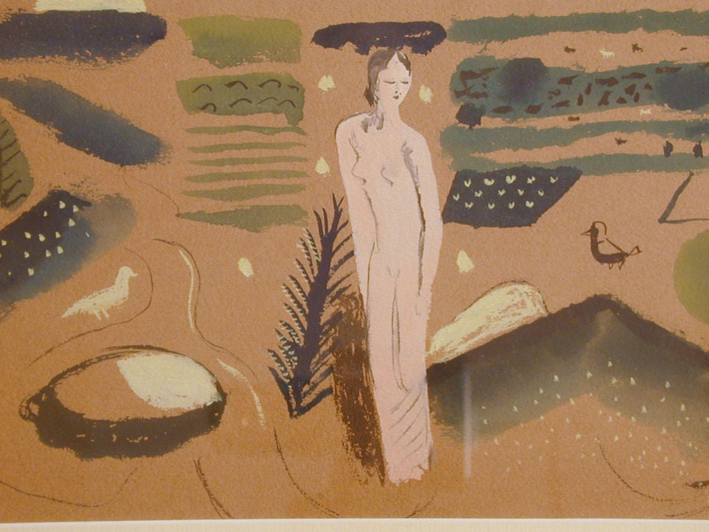 Utterly charming, this gouache was painted by Edward Buk Ulreich, an important WPA muralist in the 1930s.  Ulreich created mosaics for the 1933