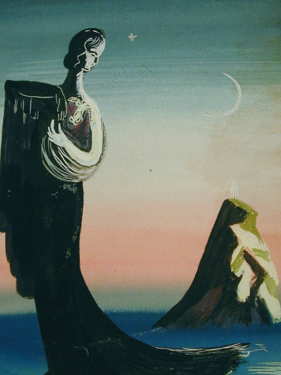 This surrealist scene of a robed woman looking back at an island topped with a diaphonous temple is mysterious and mesmerizing. It was signed and dated 1935 by Edward Buk Ulreich, an important WPA muralist in the 1930s, who also inscribed it to a