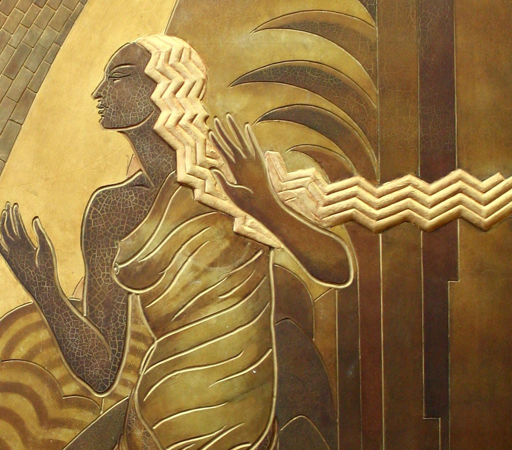 Art Deco Wall Panels: Major Art Deco Masterpiece-- Panel With Orpheus From CA