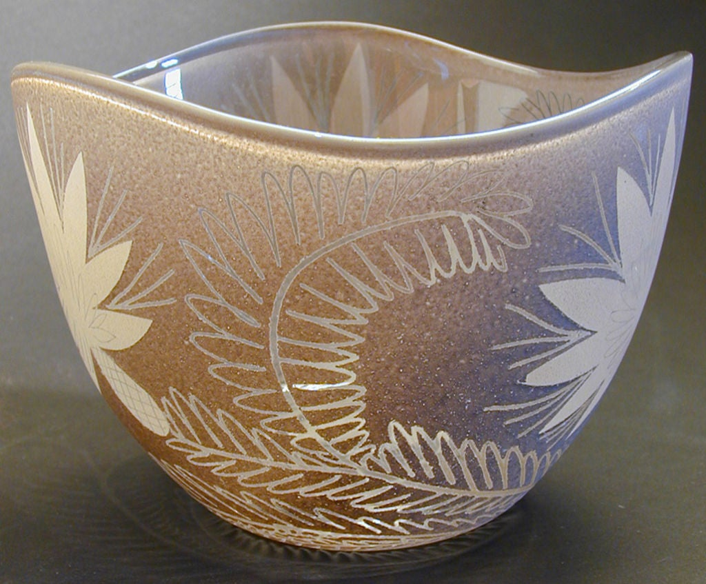Rare Etched Glass Bowl By Waylande Gregory At 1stdibs