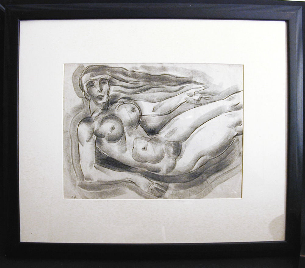American Floating Art Deco Nude, Drawing by Zaidenberg For Sale
