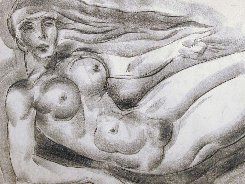 Floating Art Deco Nude, Drawing by Zaidenberg In Excellent Condition For Sale In Philadelphia, PA