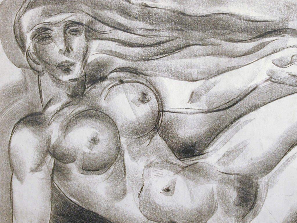 Mid-20th Century Floating Art Deco Nude, Drawing by Zaidenberg For Sale