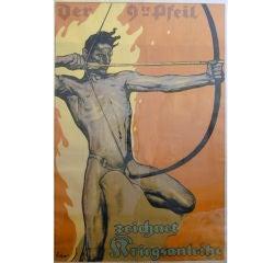 """""""Archer Defending Germany,"""" Rare World War I Poster by Erler"""