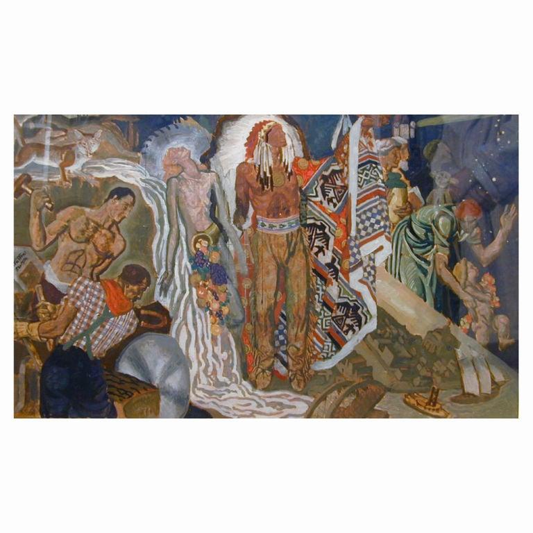 """Spirit of Oshkosh,"" Art Deco Mural Study by Eugene Savage, 1937"