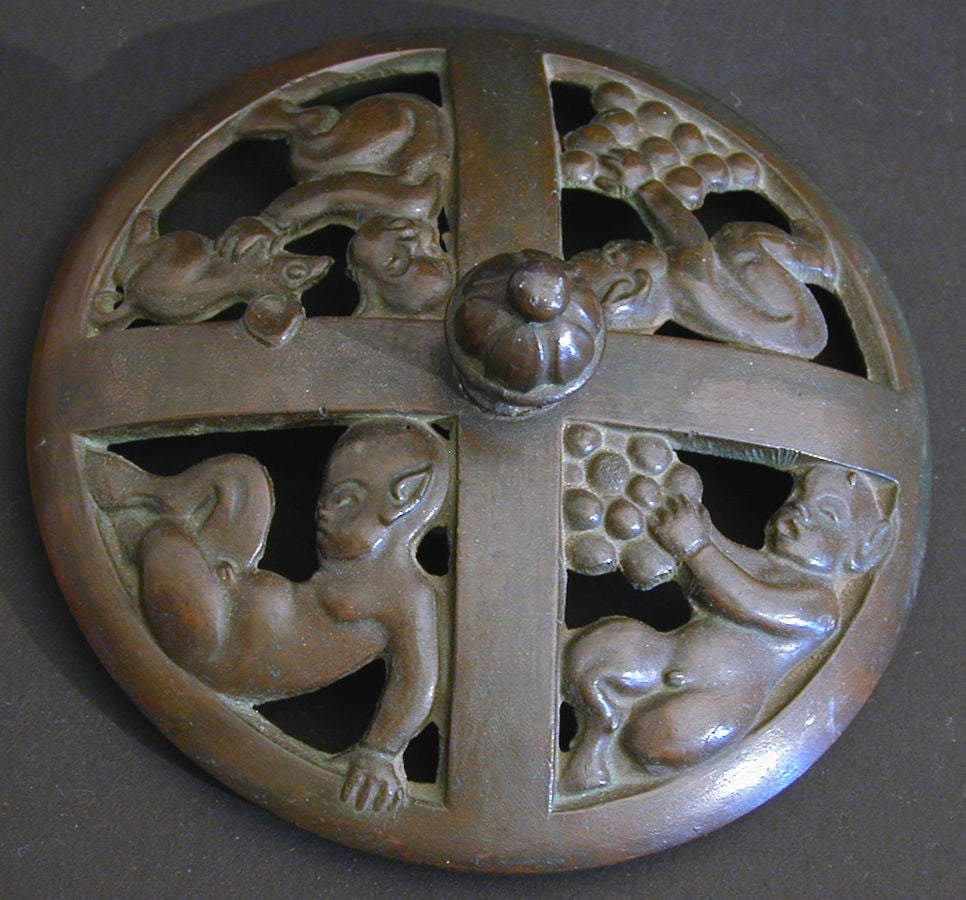 """""""Baby Satyrs,"""" Rare Bronze and Alabaster Art Deco Box from Denmark In Good Condition For Sale In Philadelphia, PA"""