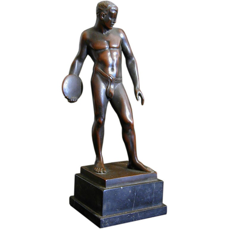 Nude Discus Thrower, Bronze Sculpture by Ludwig Eisenberger