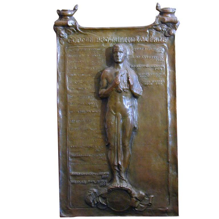 Rare Gordon Memorial Prize bronze plaque from Yale University