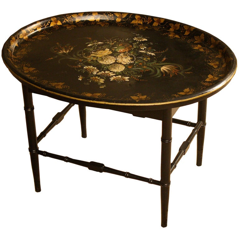 English Regency Tole Tray Table