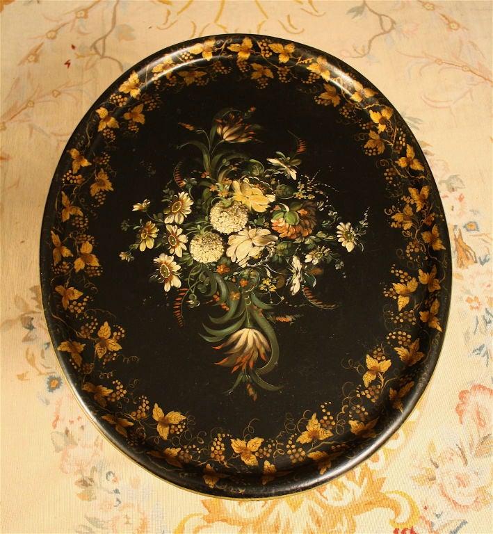 19th Century English Regency Tole Tray Table