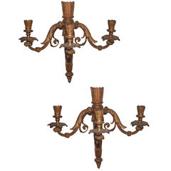 PAIR Neoclassical Revival Three-candle Sconces - Astor Provenance