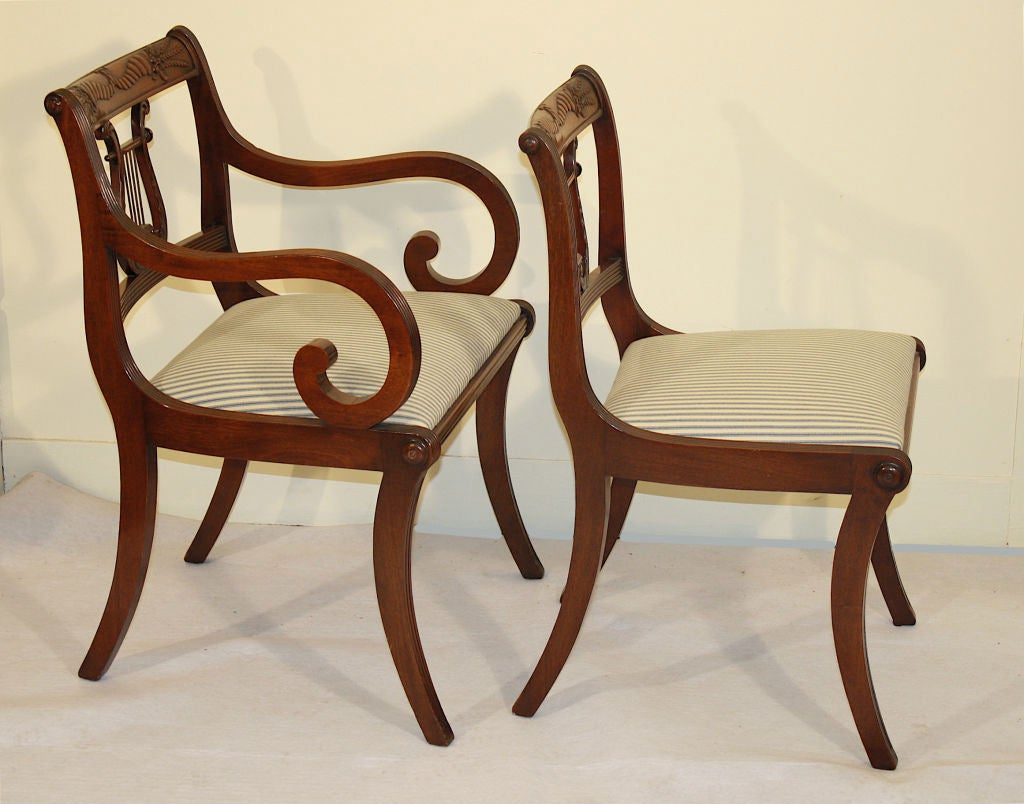 6 Lyre Back Mahogany Klismos Dining Chairs at 1stdibs : 866712698053815 from www.1stdibs.com size 1024 x 804 jpeg 93kB