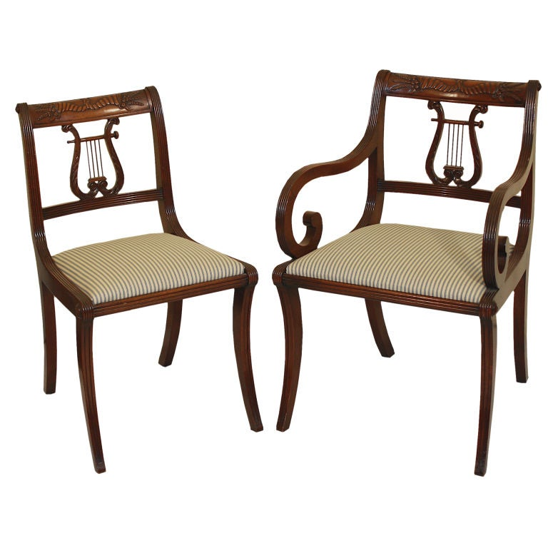 6 Lyre Back Mahogany Klismos Dining Chairs at 1stdibs : XXX866712698053811 from 1stdibs.com size 768 x 768 jpeg 58kB