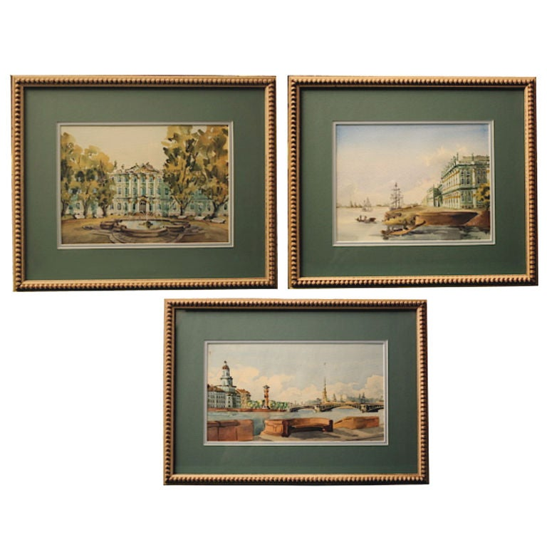 THREE Russian Watercolors of The Hermitage at St. Petersburg