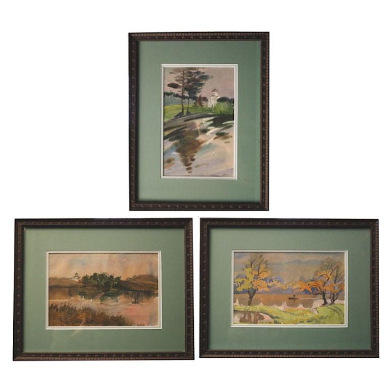 THREE Russian Watercolors - Oranienbaum Palace Views
