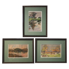 THREE Russian Watercolors - Oranienbaum Palace Views