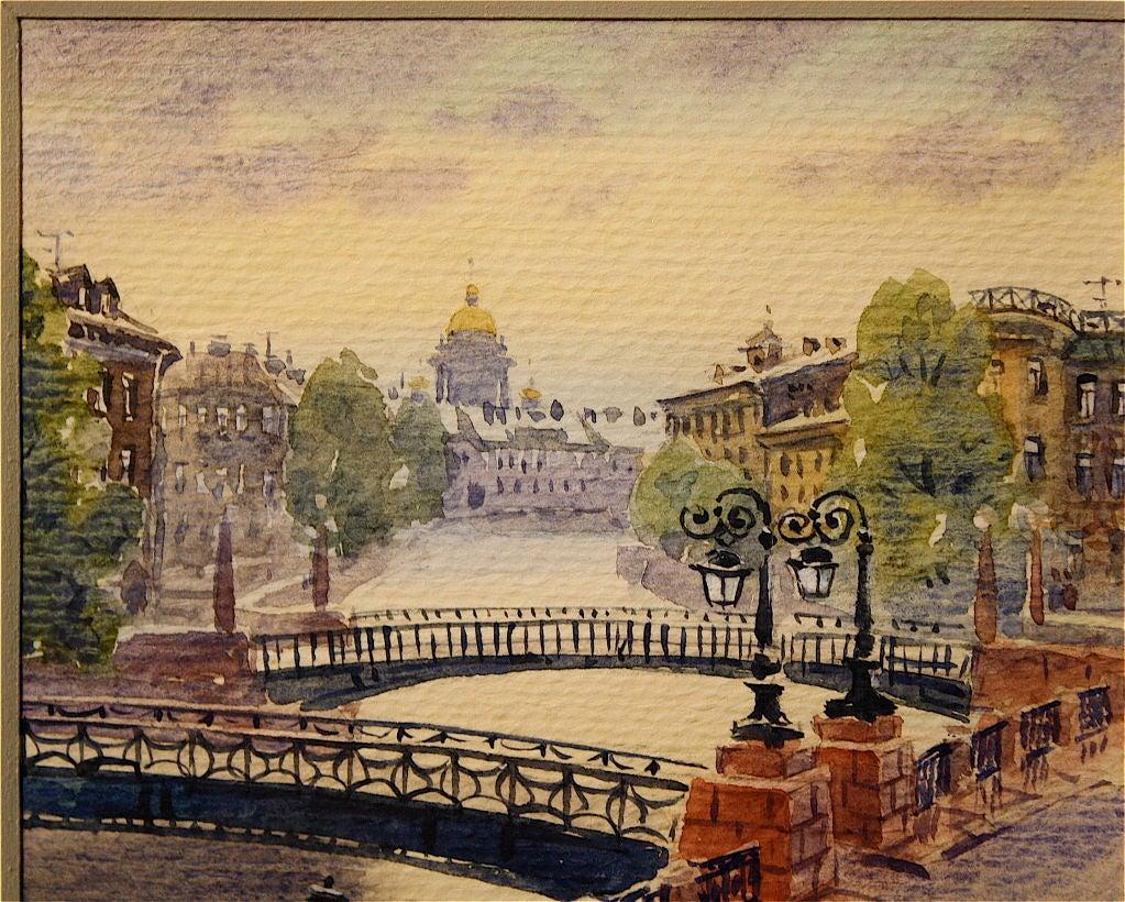 Three Russian Watercolors Of St Petersburg Landmarks For