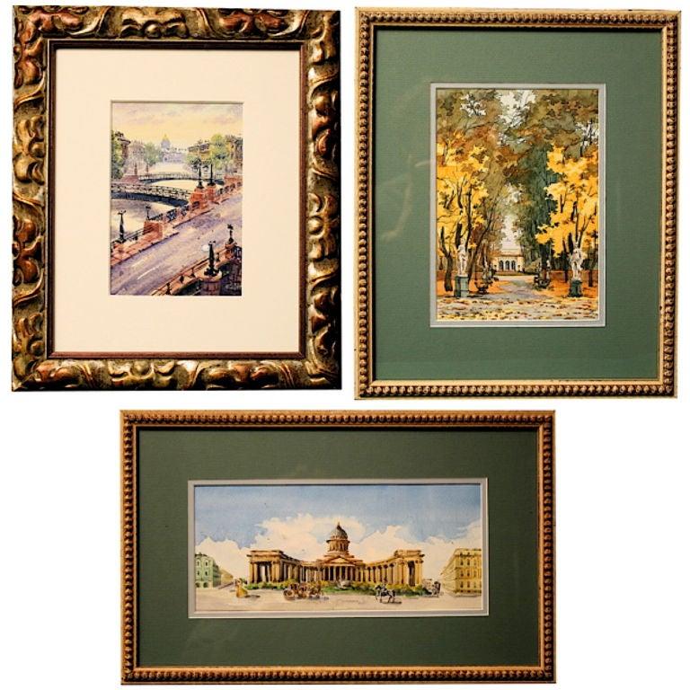 THREE Russian Watercolors of St. Petersburg Landmarks