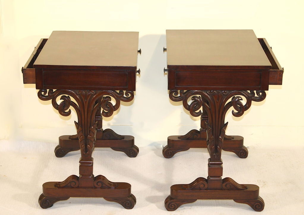 Pair William Iv Mahogany Sofa End Or Bed Side Tables At