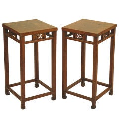 Pair of Chinese Leather-Top Pedestal Tables