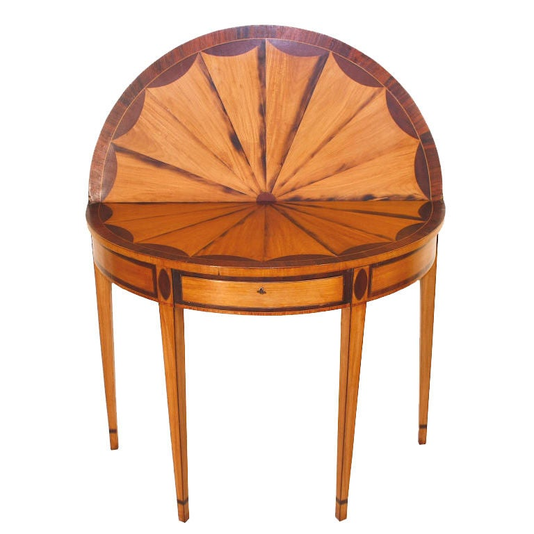 Hepplewhite Inlaid Demi Lune Card Table At 1stdibs