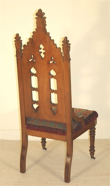 Gothic Revival Hall Chair, Original Needlepoint Seat For Sale 3