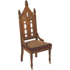 Gothic Revival Hall Chair, Original Needlepoint Seat
