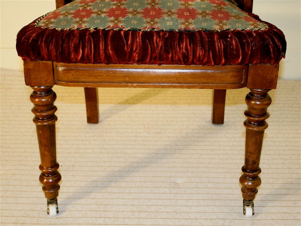Hand-Carved Gothic Revival Hall Chair, Original Needlepoint Seat For Sale