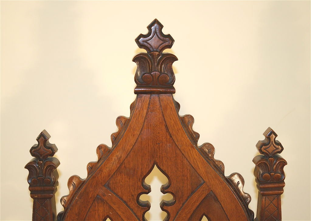 Walnut Gothic Revival Hall Chair, Original Needlepoint Seat For Sale