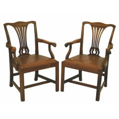 PAIR Chippendale Revival Armchairs thumbnail 1
