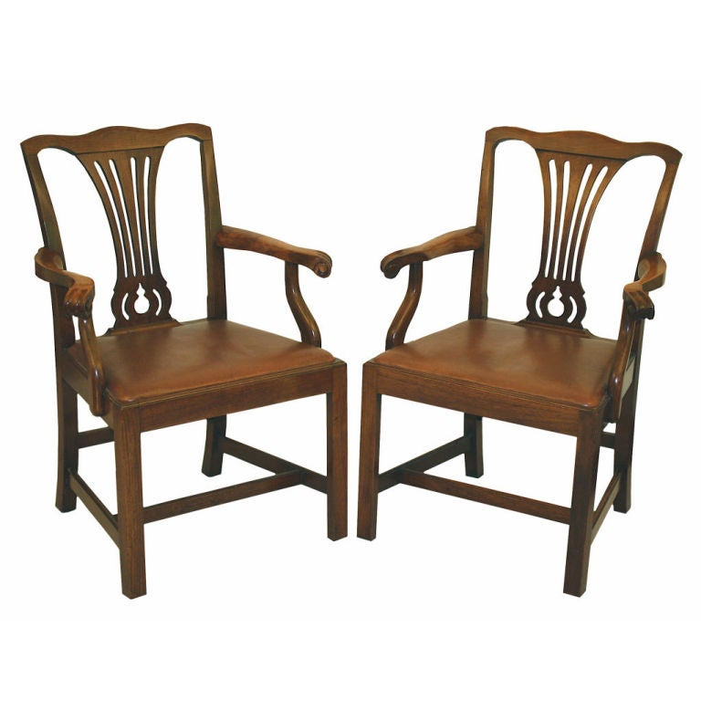 PAIR American Chippendale Revival Armchairs For Sale