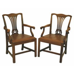 PAIR American Chippendale Revival Armchairs