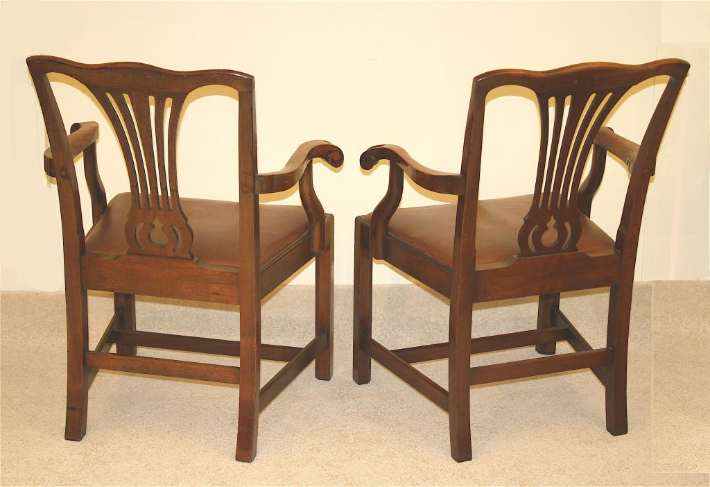 19th Century PAIR American Chippendale Revival Armchairs For Sale