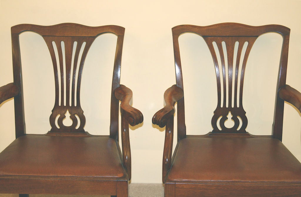 PAIR American Chippendale Revival Armchairs For Sale 1