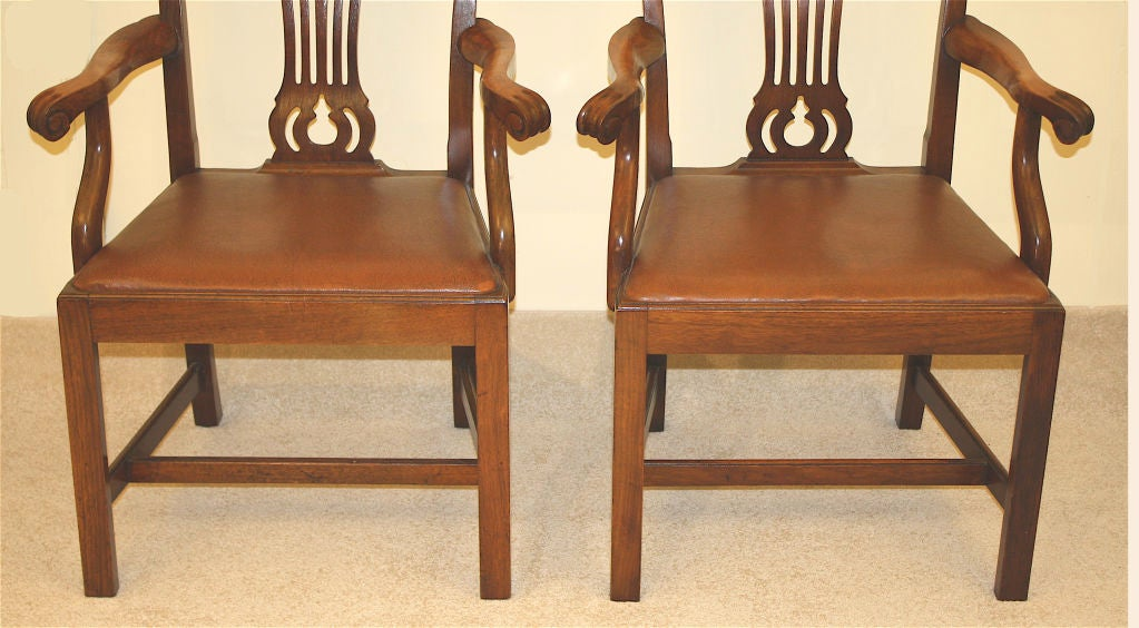 PAIR American Chippendale Revival Armchairs For Sale 2