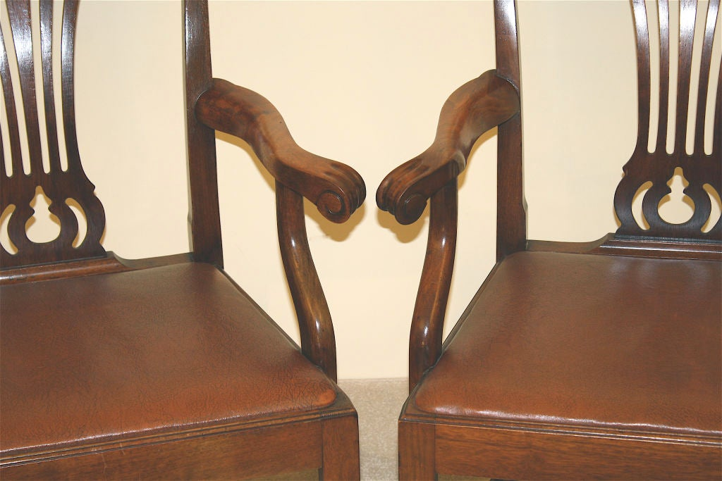 PAIR American Chippendale Revival Armchairs For Sale 3