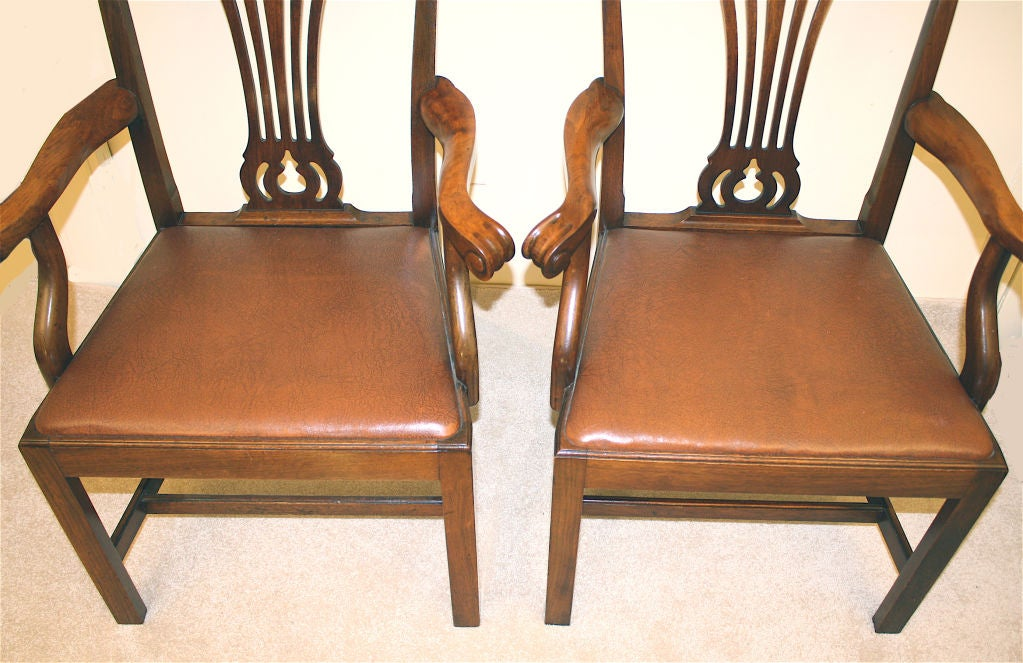PAIR American Chippendale Revival Armchairs For Sale 5