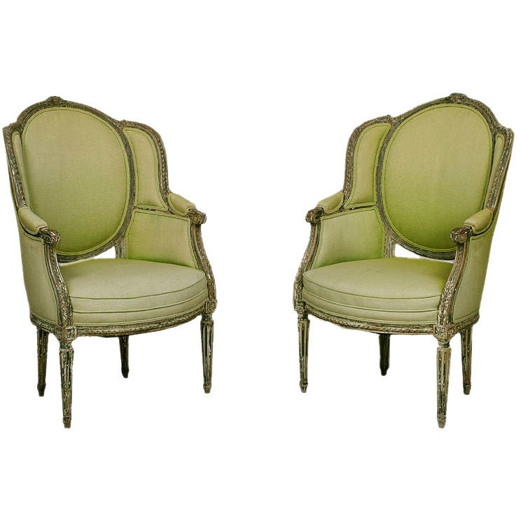pair fauteuils a l 39 oreilles at 1stdibs. Black Bedroom Furniture Sets. Home Design Ideas