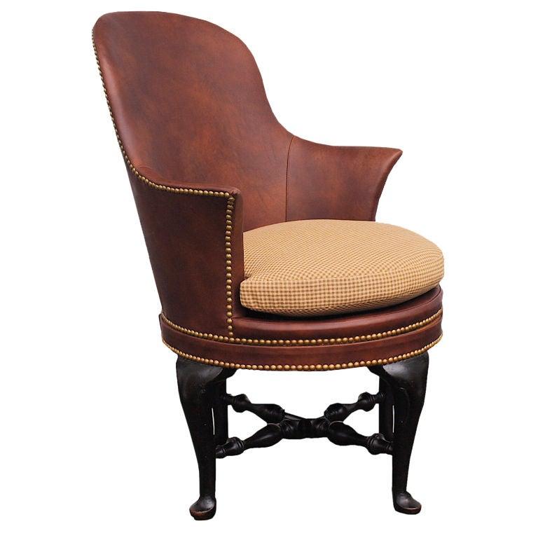 Georgian Swivel Leather Desk Chair at 1stdibs