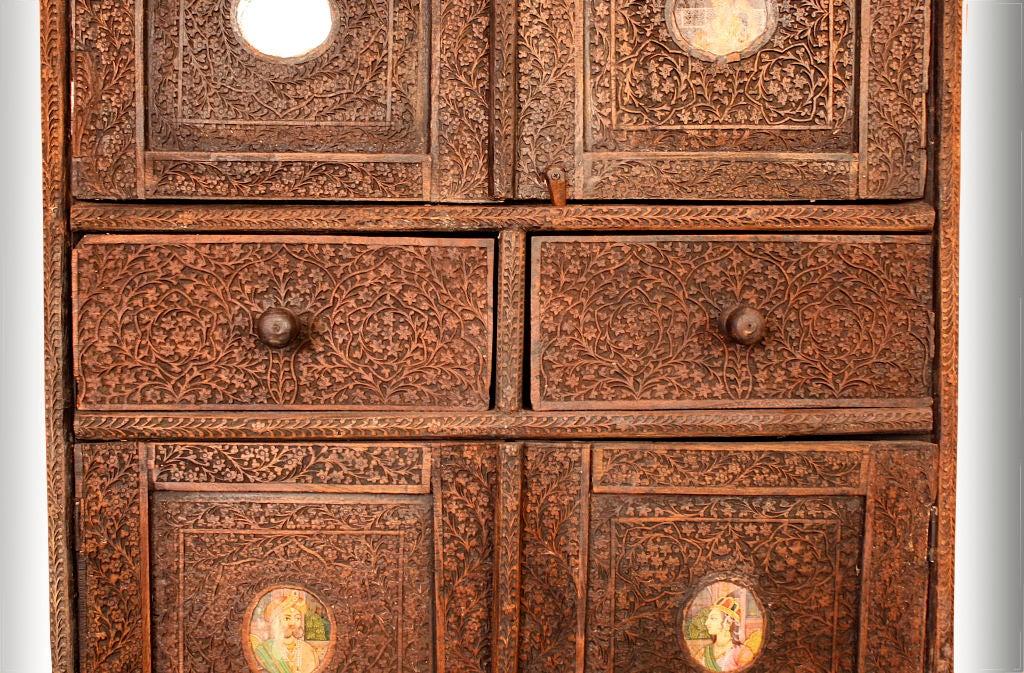 19th Century Indian Brahmin Plaqued Vine-Carved Corner Cabinet For Sale