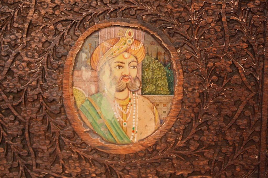 Indian Brahmin Plaqued Vine-Carved Corner Cabinet For Sale 2