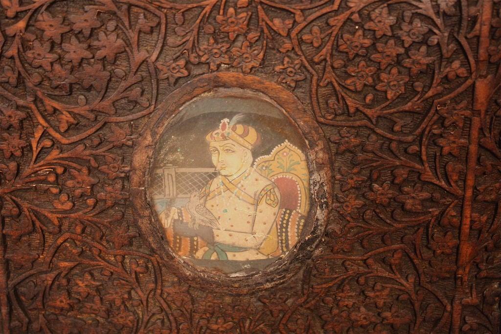 Indian Brahmin Plaqued Vine-Carved Corner Cabinet For Sale 4