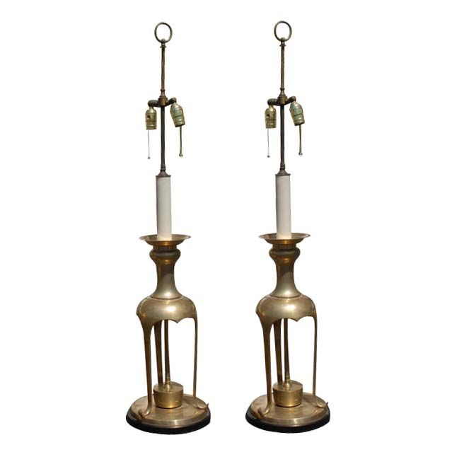 Pair of Brass Lamps in the Manner of James Mont