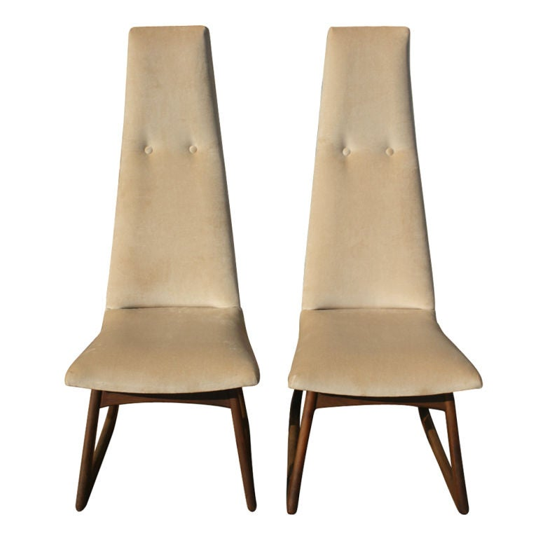 Pair Of Adrian Pearsall For Craft Associates High Back Chairs image 2