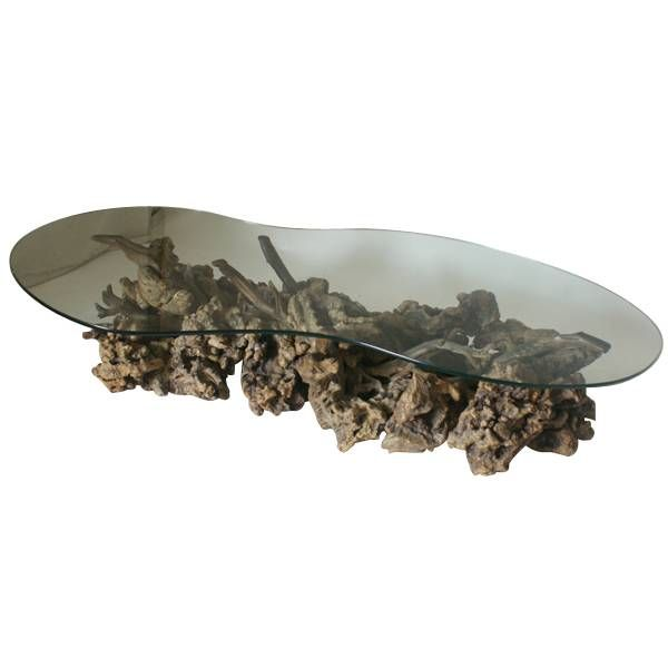 Mid Century Modern Driftwood And Glass Coffee Table At 1stdibs