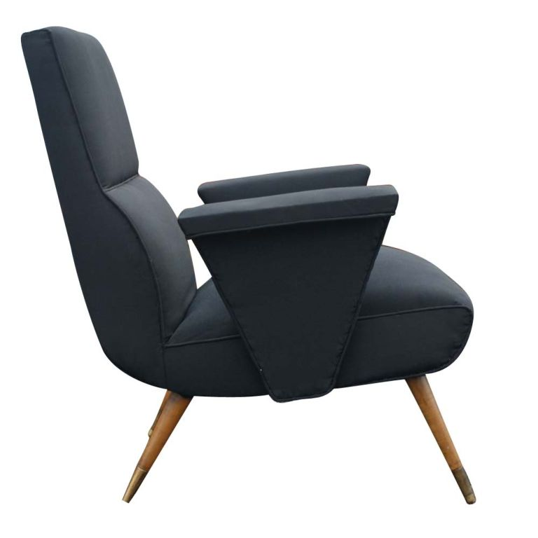 Pair Mid Century Modern Italian Lounge Chairs at 1stdibs