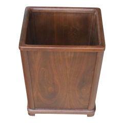 Vintage Mid Century Walnut Waste Basket Trash Can