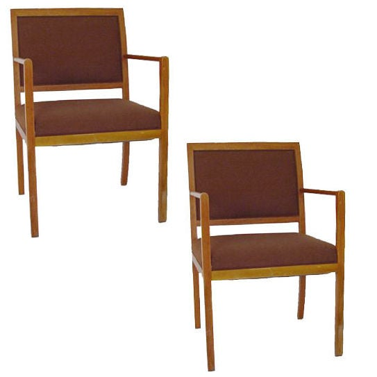 Pair of Ward Bennett for Brickel Brown Fabric Armchairs