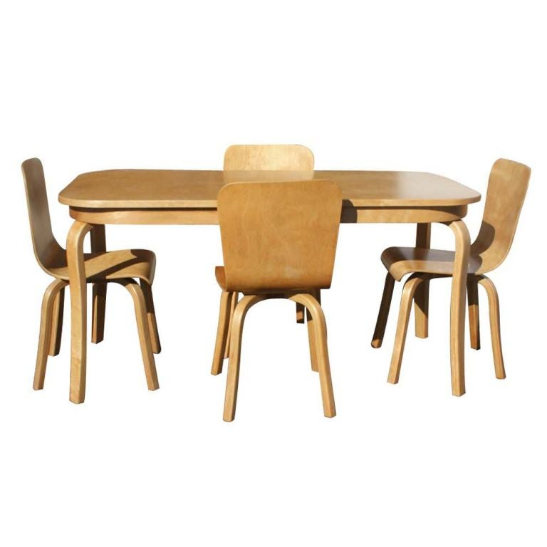 bentwood birch dining table and four chairs at 1stdibs